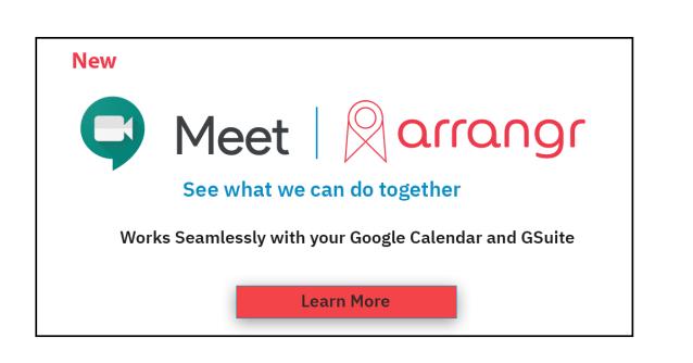 Google Meet 1 and Arrangr Switchboard Feature Box